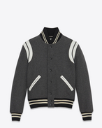 SAINT LAURENT Casual Jackets U Classic Teddy Jacket in Grey Wool f