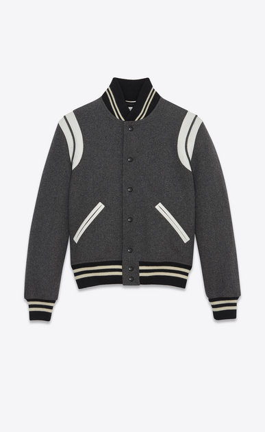 SAINT LAURENT Casual Jackets U Classic Teddy Jacket in Grey Wool a_V4