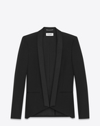SAINT LAURENT Giacche Eleganti U Giacca Iconic cropped LE SMOKING grain de poudre nera f