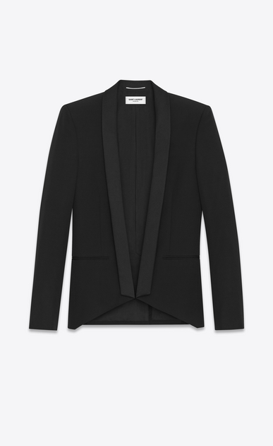 SAINT LAURENT Evening Jackets Man Iconic LE SMOKING Cropped Jacket in Black Grain de Poudre a_V4