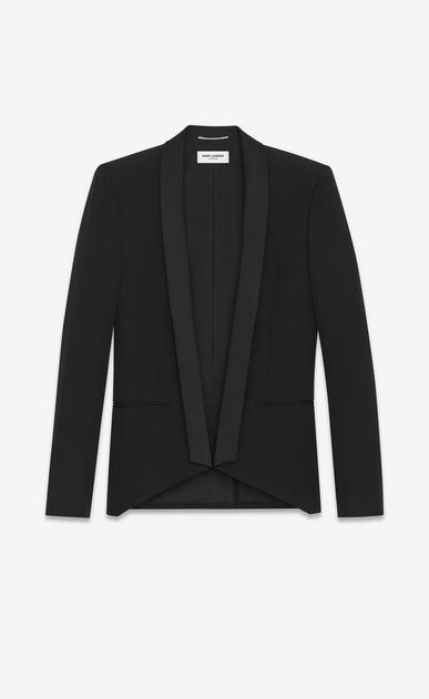 SAINT LAURENT Evening Jackets U Iconic LE SMOKING Cropped Jacket in Black Grain de Poudre v4