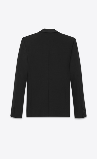 SAINT LAURENT Evening Jackets Man Iconic LE SMOKING Cropped Jacket in Black Grain de Poudre b_V4