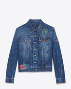 SAINT LAURENT Casual Jackets U Multi-Patch Jean Jacket in Blue Shadow Wash Blue Denim f