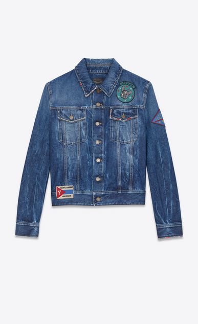 SAINT LAURENT Casual Jacken U Jeansjacke aus blauem Denim in Shadow-Waschung mit mehreren Patches a_V4