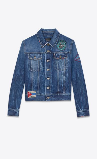 SAINT LAURENT Casual Jackets U Multi-Patch Jean Jacket in Blue Shadow Wash Blue Denim v4