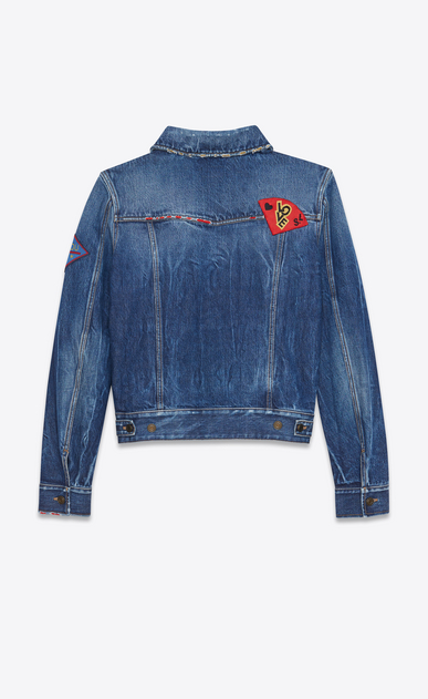 SAINT LAURENT Casual Jackets U Multi-Patch Jean Jacket in Blue Shadow Wash Blue Denim b_V4