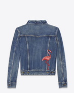SAINT LAURENT Casual Jackets U Flamingo Embroidered Jean Jacket in Washed Deep Dark Blue Denim f