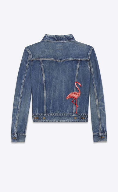SAINT LAURENT Casual Jackets U Flamingo Embroidered Jean Jacket in Washed Deep Dark Blue Denim a_V4