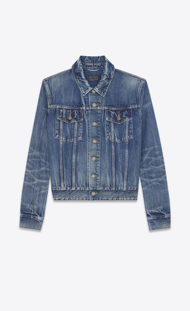 SAINT LAURENT Casual Jackets U Flamingo Embroidered Jean Jacket in Washed Deep Dark Blue Denim b_V4