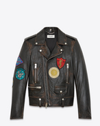 SAINT LAURENT Leather jacket U Classic Multi-Patch Motorcycle Jacket in vintage black Leather f