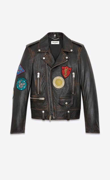 SAINT LAURENT Leather jacket U Classic Multi-Patch Motorcycle Jacket in vintage black Leather a_V4