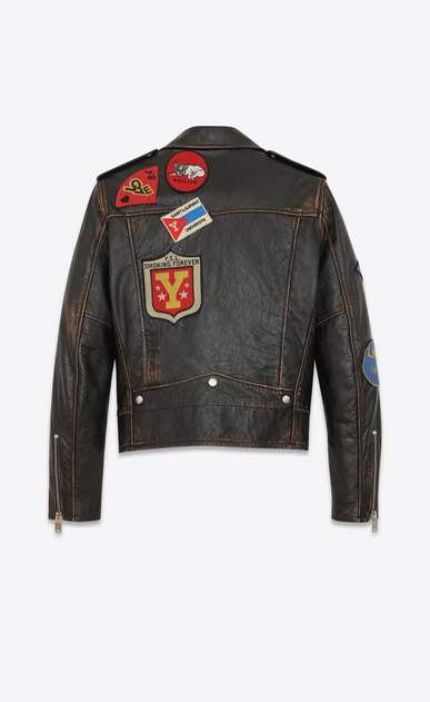 SAINT LAURENT Leather jacket U Classic Multi-Patch Motorcycle Jacket in vintage black Leather b_V4
