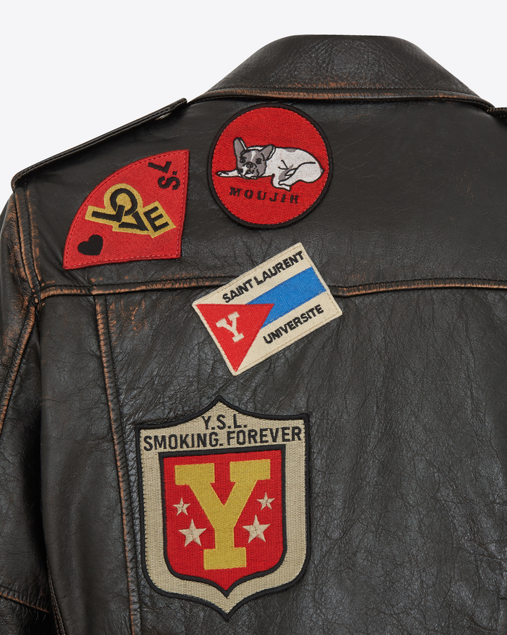Saint Laurent Multi Patch Motorcycle Jacket In Vintage
