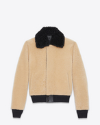 SAINT LAURENT Lederjacke U Bomber Jacket in Beige and Black Shearling f