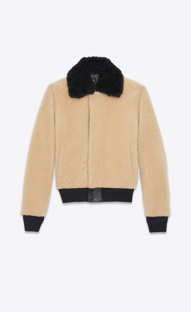 SAINT LAURENT Leather jacket U Bomber Jacket in Beige and Black Shearling a_V4