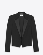 SAINT LAURENT Evening Jackets U Iconic LE SMOKING SPENCER Jacket in Black Grain de Poudre f