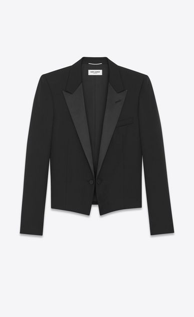 SAINT LAURENT Evening Jackets U Iconic LE SMOKING SPENCER Jacket in Black Grain de Poudre a_V4