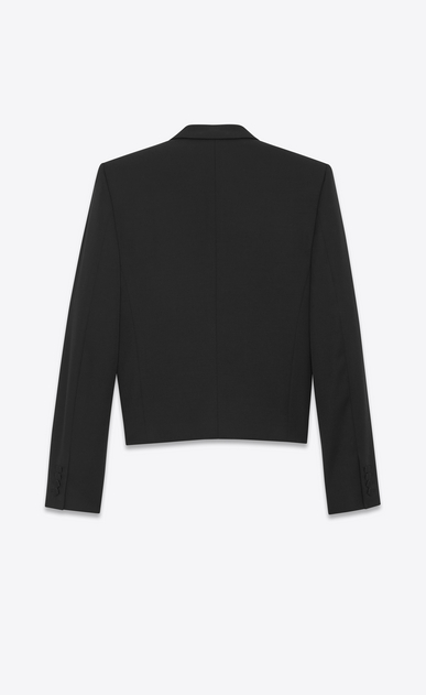 SAINT LAURENT Evening Jackets U Iconic LE SMOKING SPENCER Jacket in Black Grain de Poudre b_V4