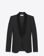 SAINT LAURENT Evening Jackets U Iconic LE SMOKING Jacket in Black Grain de Poudre and Black Crystal f