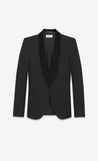 SAINT LAURENT Evening Jackets U Iconic LE SMOKING Jacket in Black Grain de Poudre and Black Crystal a_V4