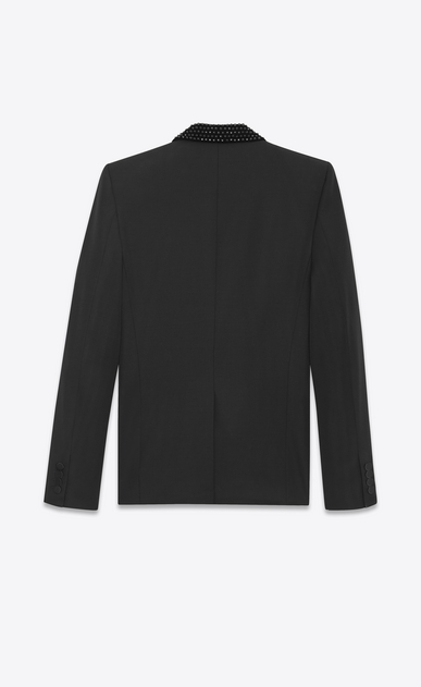 SAINT LAURENT Evening Jackets U Iconic LE SMOKING Jacket in Black Grain de Poudre and Black Crystal b_V4