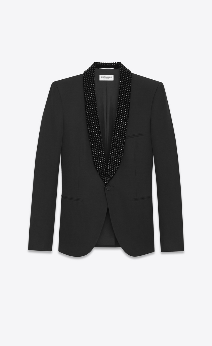 Saint Laurent Iconic Le Smoking Jacket In Black Grain De