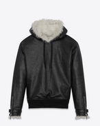 SAINT LAURENT Lederjacke U Pull-Over Jacket in Grained Leather and Natural Shearling f