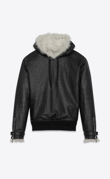 SAINT LAURENT Leather jacket Man Pull-Over Jacket in Grained Leather and Natural Shearling a_V4