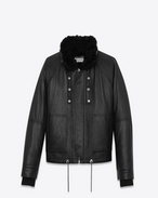SAINT LAURENT Lederjacke U Slouchy Parka in Black Leather and Shearling f