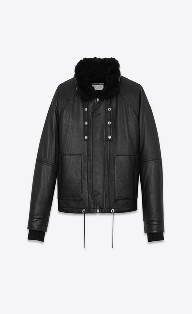 SAINT LAURENT Leather jacket U Slouchy Parka in Black Leather and Shearling a_V4