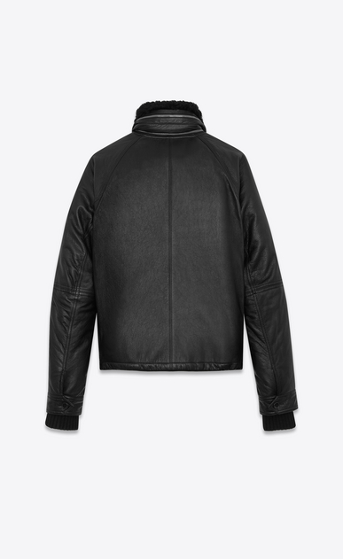SAINT LAURENT Leather jacket U Slouchy Parka in Black Leather and Shearling b_V4