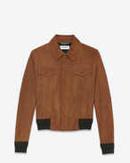 SAINT LAURENT Lederjacke U Jean Jacket in Cognac Suede f