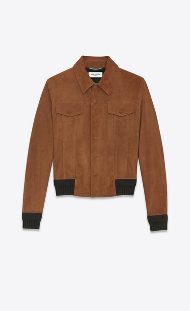 SAINT LAURENT Leather jacket Man Jean Jacket in Cognac Suede a_V4