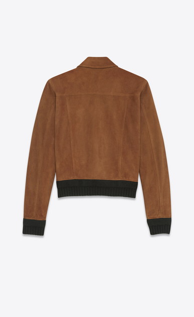 SAINT LAURENT Leather jacket Man Jean Jacket in Cognac Suede b_V4
