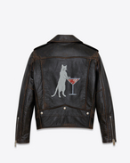 SAINT LAURENT Lederjacke U Classic Cat Motorcycle Jacket in Black Leather f