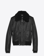 SAINT LAURENT Lederjacke U Car Jacket in Black Leather and Shearling f