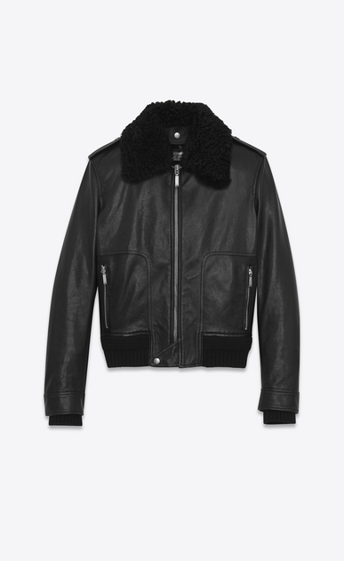 SAINT LAURENT Leather jacket U Car Jacket in Black Leather and Shearling a_V4