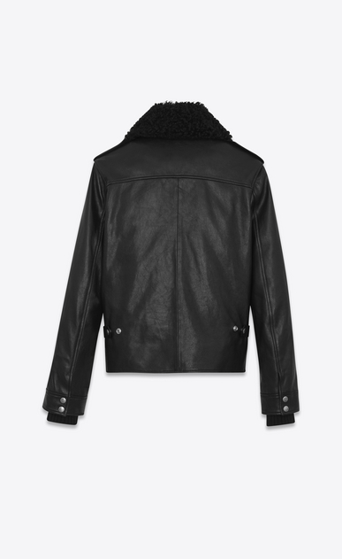 SAINT LAURENT Leather jacket U Car Jacket in Black Leather and Shearling b_V4