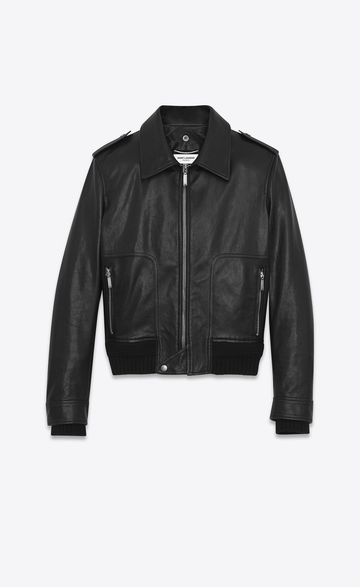 Saint Laurent Car Jacket In Black Leather And Shearling