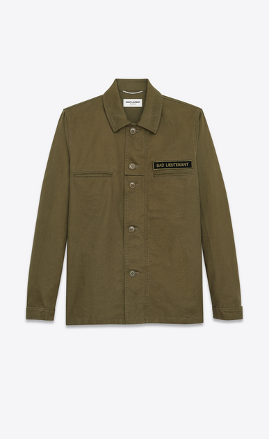 "SAINT LAURENT Casual Jackets U ""BAD LIEUTENANT"" Shirt Jacket in Khaki Cotton Gabardine a_V4"