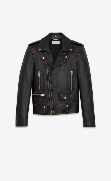 SAINT LAURENT Leather jacket U Classic Motorcycle Jacket in Black Vintage Leather a_V4