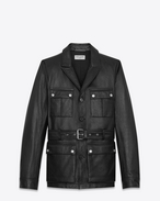SAINT LAURENT Lederjacke U SAHARIENNE Jacket in Black Leather f