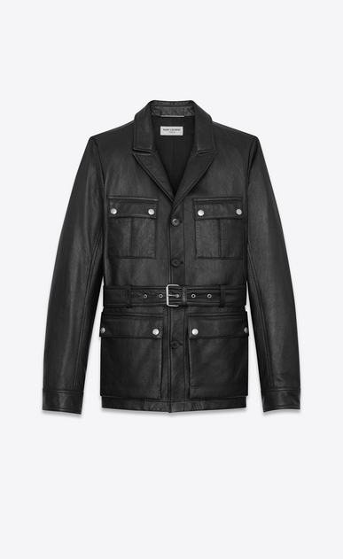 SAINT LAURENT Leather jacket Man SAHARIENNE Jacket in Black Leather a_V4