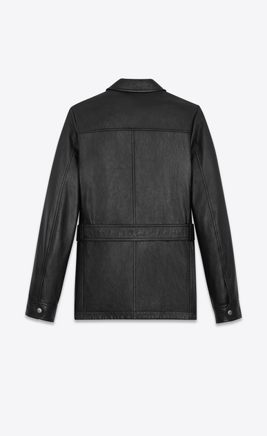 SAINT LAURENT Leather jacket Man SAHARIENNE Jacket in Black Leather b_V4