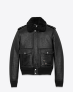 SAINT LAURENT Lederjacke U Bomber Jacket with Pins in Black Leather and Shearling f