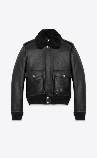 SAINT LAURENT Leather jacket Man Bomber Jacket with Pins in Black Leather and Shearling a_V4
