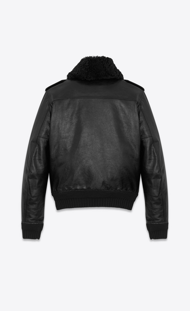 SAINT LAURENT Leather jacket U Bomber Jacket with Pins in Black Leather and Shearling b_V4