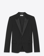 SAINT LAURENT Evening Jackets U Iconic LE SMOKING Jacket in Black Grain de Poudre f