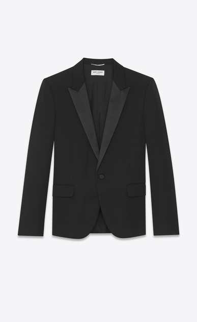 SAINT LAURENT Evening Jackets Man Iconic LE SMOKING Jacket in Black Grain de Poudre a_V4