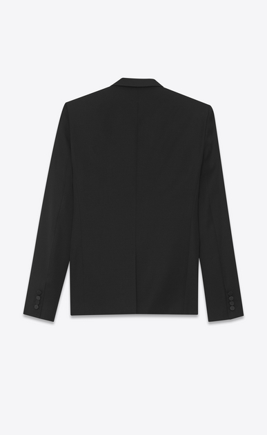 SAINT LAURENT Evening Jackets Man Iconic LE SMOKING Jacket in Black Grain de Poudre b_V4